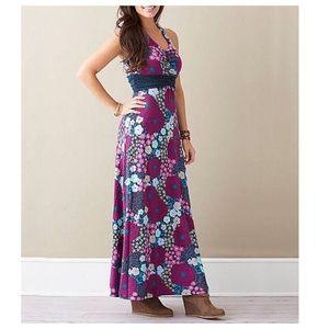 Matilda Jane Floral Plum Halter Maxi Dress